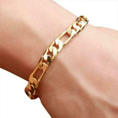 18K Gold Plated Chain Necklaces Mens Stainless Steel Curb Link Bracelet HOT A6C3