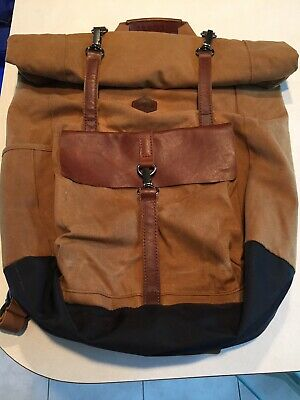 dbd3dc6f0b4 timberland backpack Waxed Canvas Tan Roll Top Leather 24 L Laptop Walnut  Hill