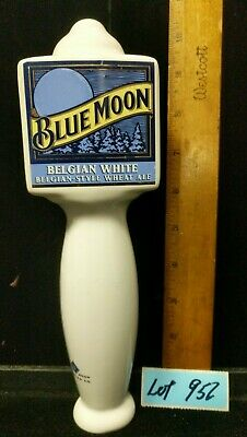 Blue Moon Unused Belgian White Wheat Ale Beer Ceramic Tap Bar Pub Handle Lot 952