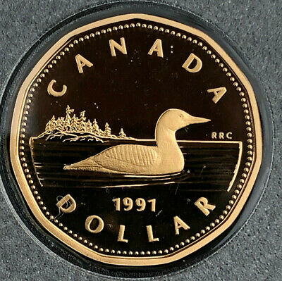 1991 BU Frosted Proof Canada $1 Dollar from mint set Loon Canadian Loonie UNC