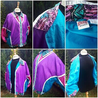 Vtg Retro 1980s Shell Tracksuit Top Purple/Pink/Blue Abstracts M Festival GLASTO
