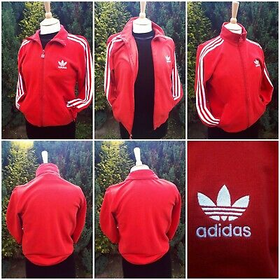 5752089f61a VINTAGE Retro 1980s Red White Stripes adidas Tracksuit Top Festival GLASTO  Small