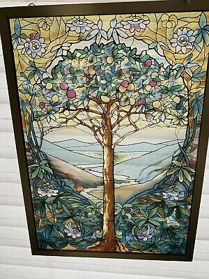"GLASSMASTERS STAINED GLASS LOUIE C.TIFFANY TREE OF LIFE.FRAMED GOLD,9.25""x12.5""!"