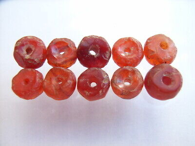 10 Ancient Neolithic Carnelian Beads, Stone Age, RARE !!  TOP !!