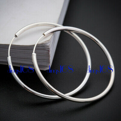 5fca94f3610d2 925 STERLING SILVER Classic Medium Size Endless 1.8mm Thin Hoop ...