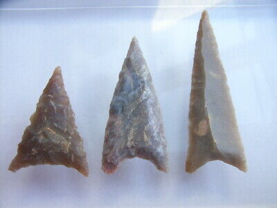 3 Ancient Neolithic Flint Arrowheads, Stone Age, VERY RARE !!  TOP !!
