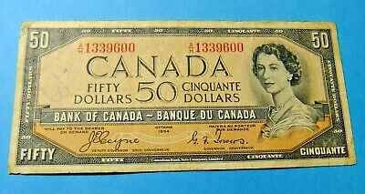 1954 Bank of Canada 50 Dollar Note - DEVILS FACE - VF