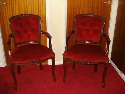 Vintage Pair of French Louis Style Fauteuils Open Armchairs - Carved Wood Frames