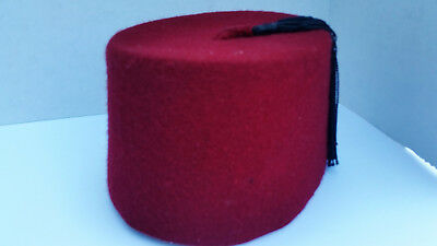 Rare Vtg. Red FEZ Ottoman Hat With Tassle has a Mirror inside and maker/leather