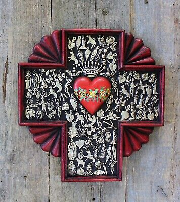 Large Hand Carved Wood Cross & Milagros Sacred Heart Mexican Folk Art Michoacán