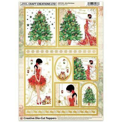 Craft Creation Girls Christmas Toppers For Cards & Craft