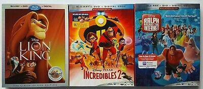 Disney Pixar Bluray Movie Lot Lion King Incredibles 2 Ralph Breaks the Internet