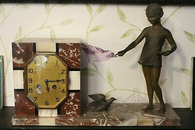 Art Deco marble clock with bird and figure