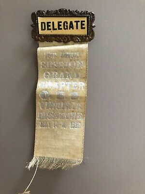25th Annual Session Grand Chapter May 14-16 1929 Delegate  Ribbon