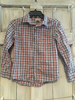 Cat and Jack Boy's Button Up Shirt Size M 8/10 Plaid Long Sleeve Orange and Blue