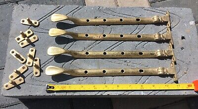 Reclaimed Antique Brass Window Casement Stays X4 Set b