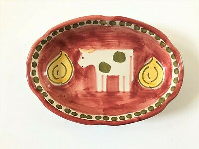 Solimene Vietri Italy Hand-Painted Oval Dish With Cow Design