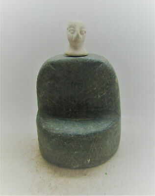 Circa 200Bc-200Ad Ancient Bactrian Chlorite Stone Seated Diety Near East