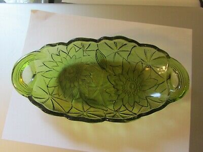 V134 Vintage Green Depression Glass Candy Dish Oblong Flower and Leaf Design