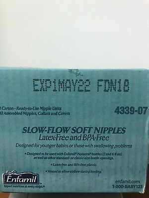 Enfamil Nipples & Ring Slow Flow Soft Infant Baby Disposable Latex Free (12/PK)
