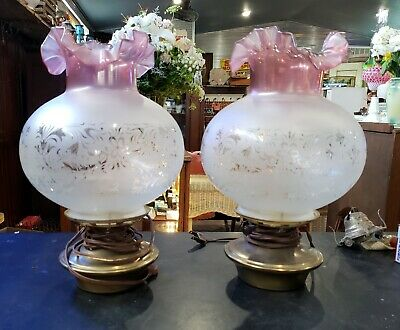 Etched Fluted *Vianne Glass* Oil Lamp Shade, Imported from France *Beautiful NEW