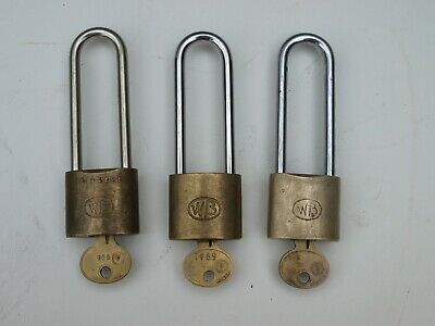 Vintage Brass WB Padlocks Stamped Ford Motor Co. Lot of 3 with Keys