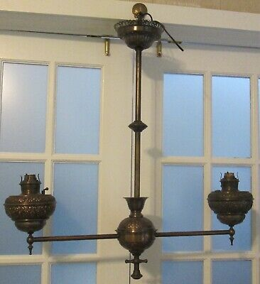 Antique Bradley & Hubbard Ornate Brass Victorian 2 Arm Light Ceiling Chandelier