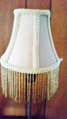 Pair Of Antique White/Beige Brocade Small BELL LAMP SHADES with Fringes
