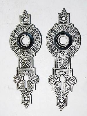 Two Antique Cast Iron Decorative Door Lock Escutcheon Plates, Circa 1895
