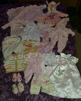 Bundle Of Zapf Baby Annabell Clothes, 19 Items, Rompers, Shoes Etc