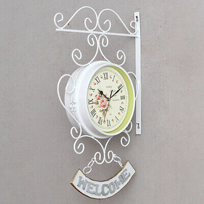 Bracket Wall clock Station Retro Beautiful White Bell Outdoor High Quality