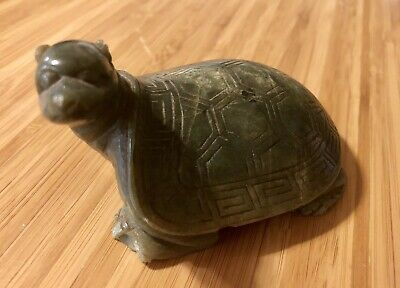 Antique Chinese Spinach Jade Qing Qianlong Mythical Turtle Figure Carved