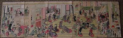 Antique Japanese Print KATSUSHIKA HOKUSAI New Years Day Ogiya Brothel Pentaptych