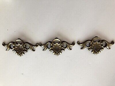 Vintage Brass Furniture Hardware Lot Of 3 Backplates Trim Drawer Mounts No Pulls