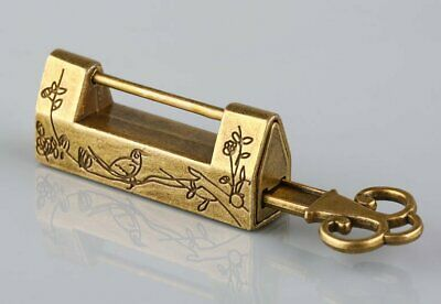Vintage Carved Bird Flower Leaf Padlock Lock and Key For Jewelry Box DrawerVinta