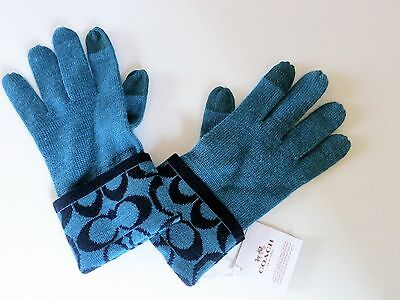 New Coach Teal Navy Blue Signature Logo Wool Blend Knit Tech Touch Tips Gloves