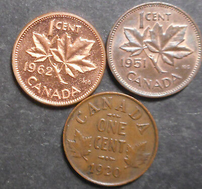 Canada 1920 KGV One cent  1951 KGVI , 1962  QEII One  Cent Better Grade