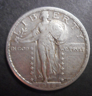 United States US 1918 S  Barber  Quarter  Silver Coin Scarcer date lightly clean