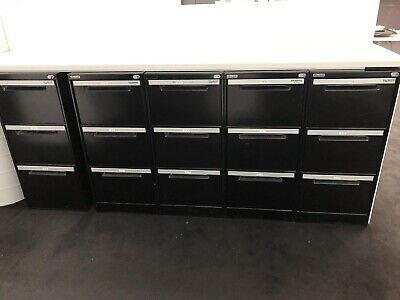 Elite Built Metal 3 Drawer Filing Cabinets, 11 In Total, Excellent condition