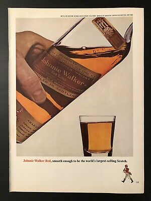 1980 Johnnie Walker Red At the End of the Day Even a Bridge Vintage Print Ad