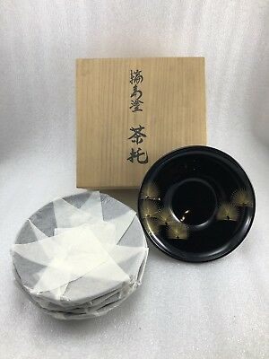 AB20 Vintage Japanese 5 High-class Lacquer Wooden Tea Plates Wajima? Wood Box