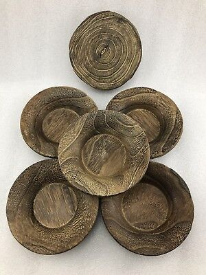 M10 Japanese 5 Wooden Tea Plates , Natural Wood Tea Ceremony