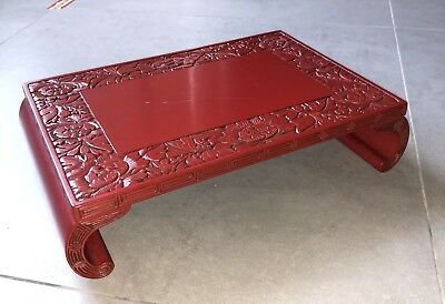 TR2 Asian  Red Cinnabar Lacquer  Carved Garden Tub Vase  Pot Stand Display