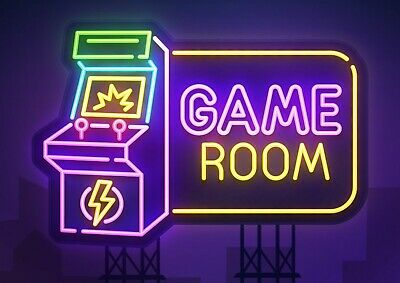 A4| Neon Game Room Sign Poster Print Size A4 Computer Gamer Poster Gift #14767