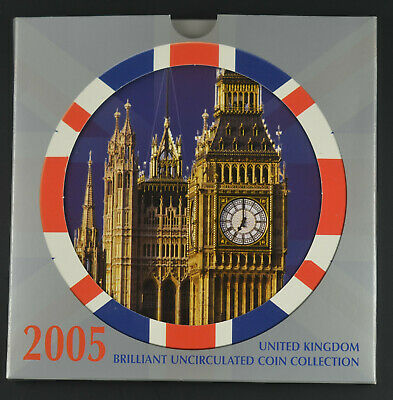 UK 2005 ROYAL MINT BRILLIANT UNCIRCULATED 10 COIN SET  - sealed pack