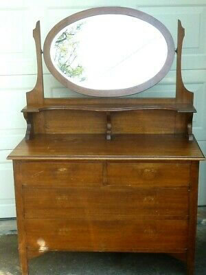 Vintage Antique Wooden  Dressing Table With Oval Mirror