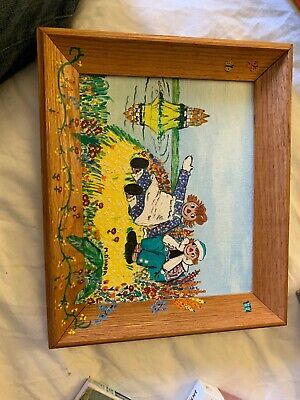 Antique Framed Oil Painting On Canvas Of Raggedy Ann And Andy Singed M. Ohara