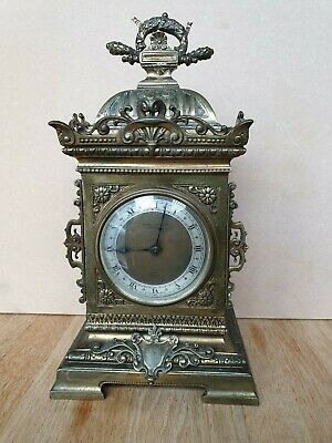 19thc Camerer Cuss & Elliot brass cased Mantle Clock