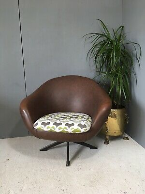 Super Cute Vintage Retro Overman Brown Vinyl Mid Century Swivel Pod Chair
