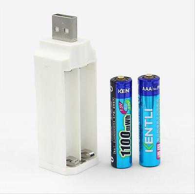 2✖ Kentli AAA Lithium Rechargeable Batteries 1.5V 1180mWh PH7 Battery +1 Charger